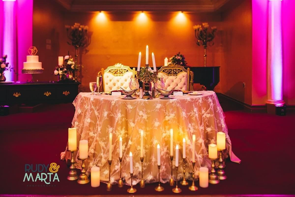 modern vintage wedding couples table