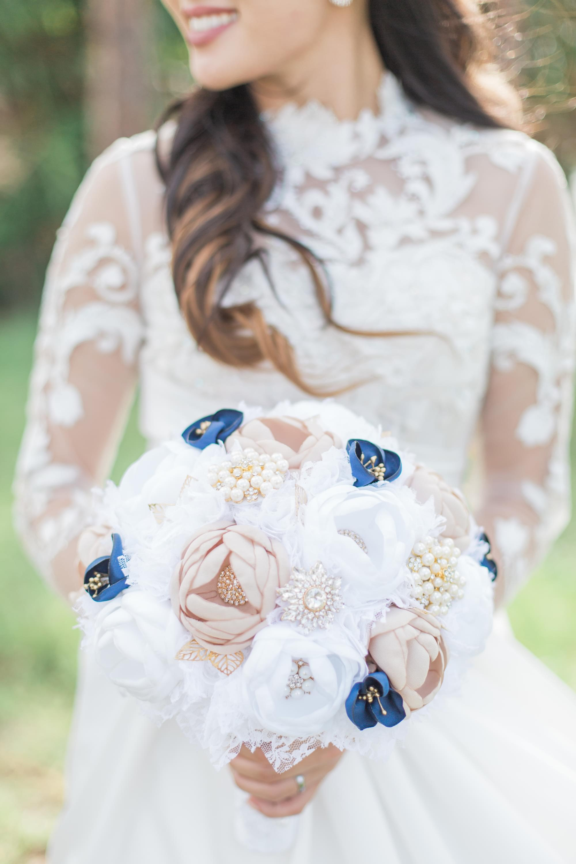 blue and pink bridal bouquet
