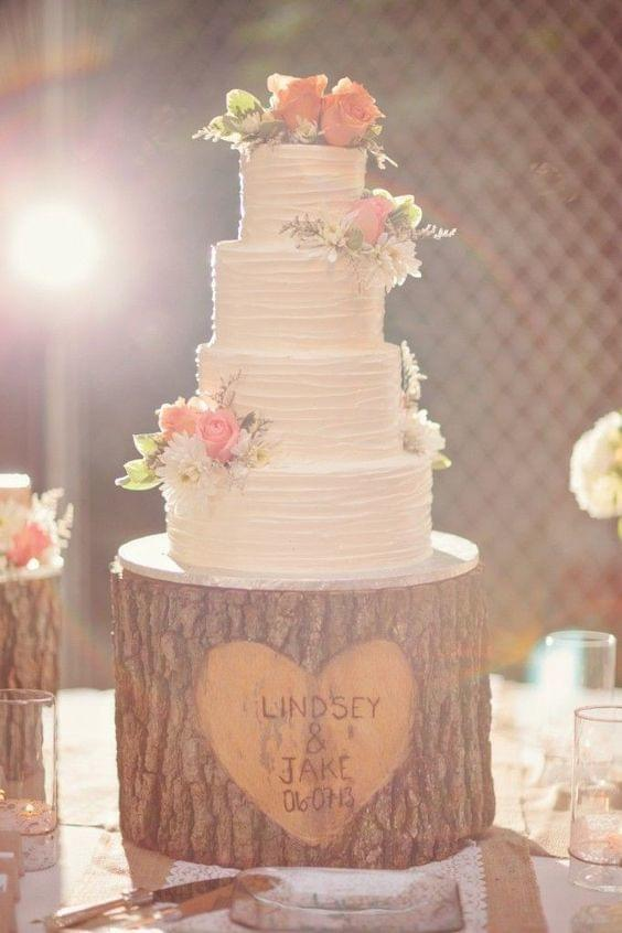 Rustic carved tree stump cake holder