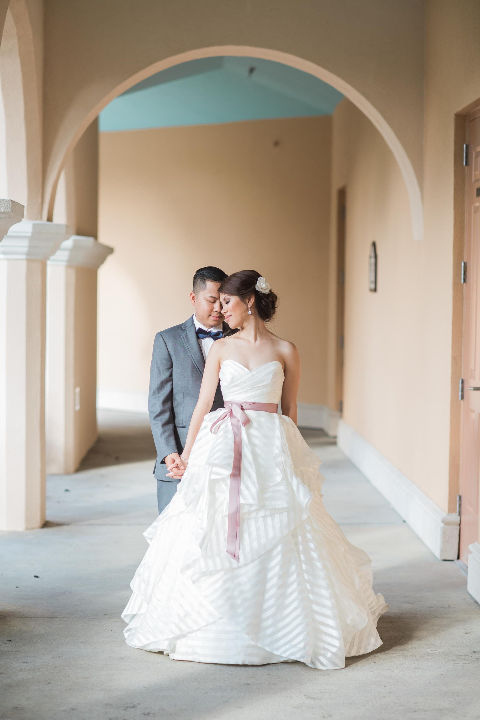 designer stripe wedding dress