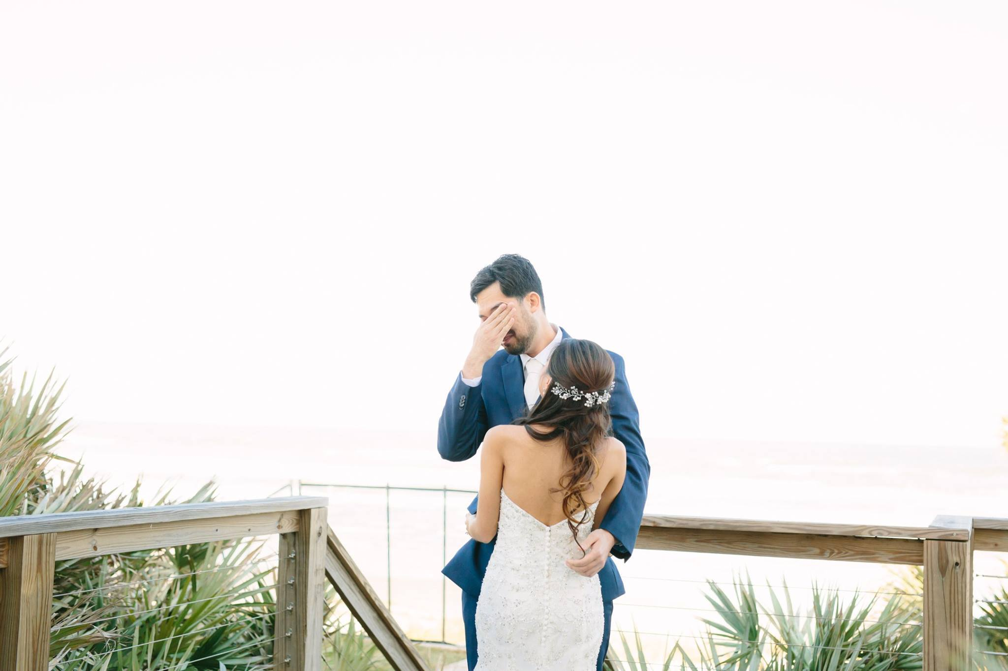 beach wedding first look