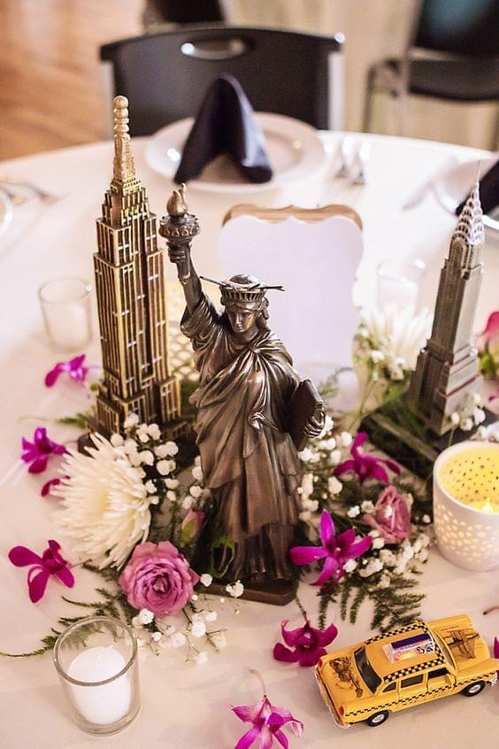 Travel themed wedding gorgeous New York centerpiece with flowers and candles
