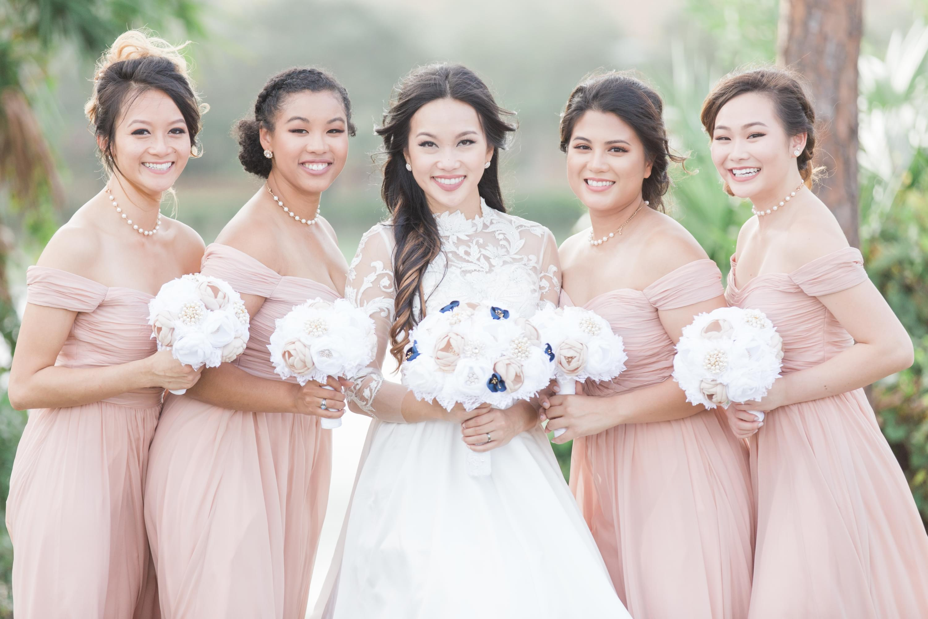 fall wedding blush bridal party