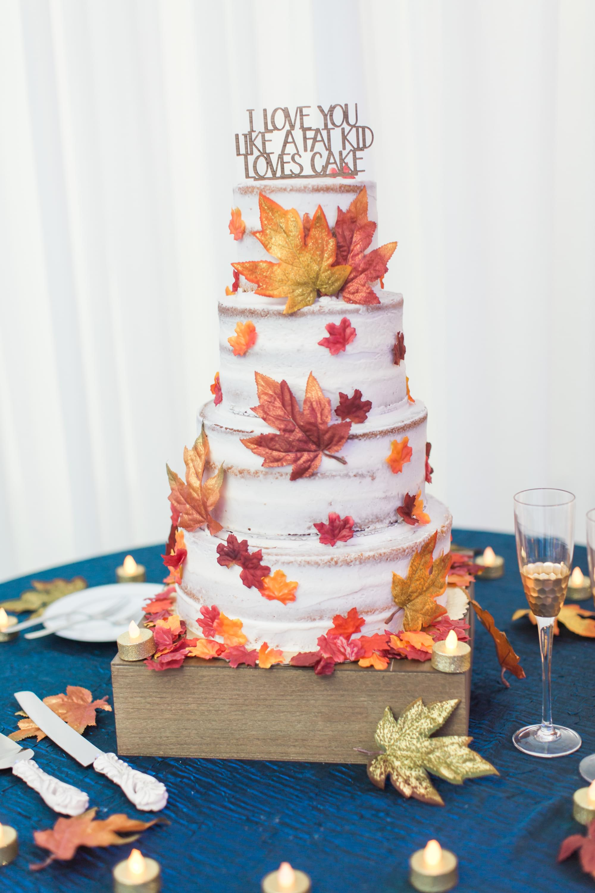 Funny fall autumn wedding cake
