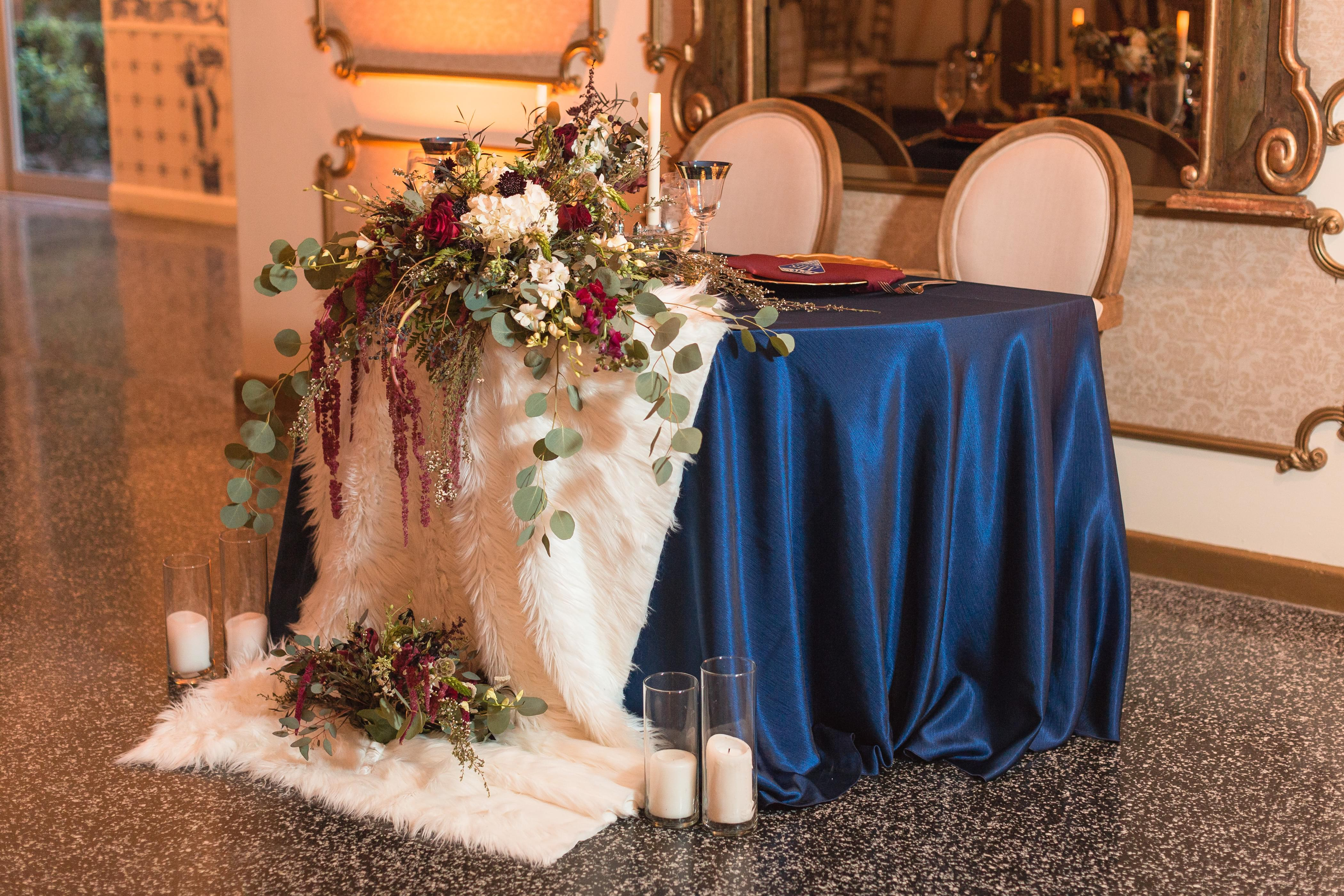 blue couples table wedding