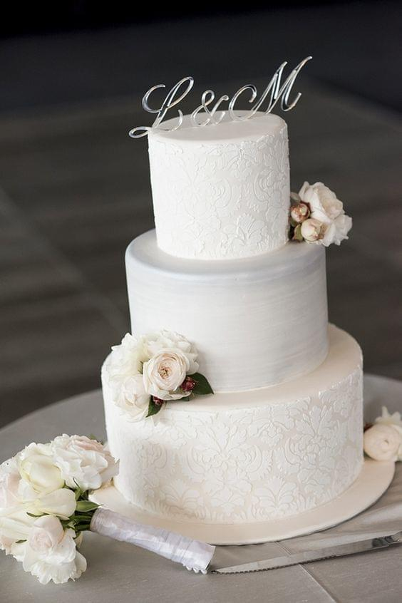 Timeless, classic, and elegant white cake with beautiful detail and white flowers