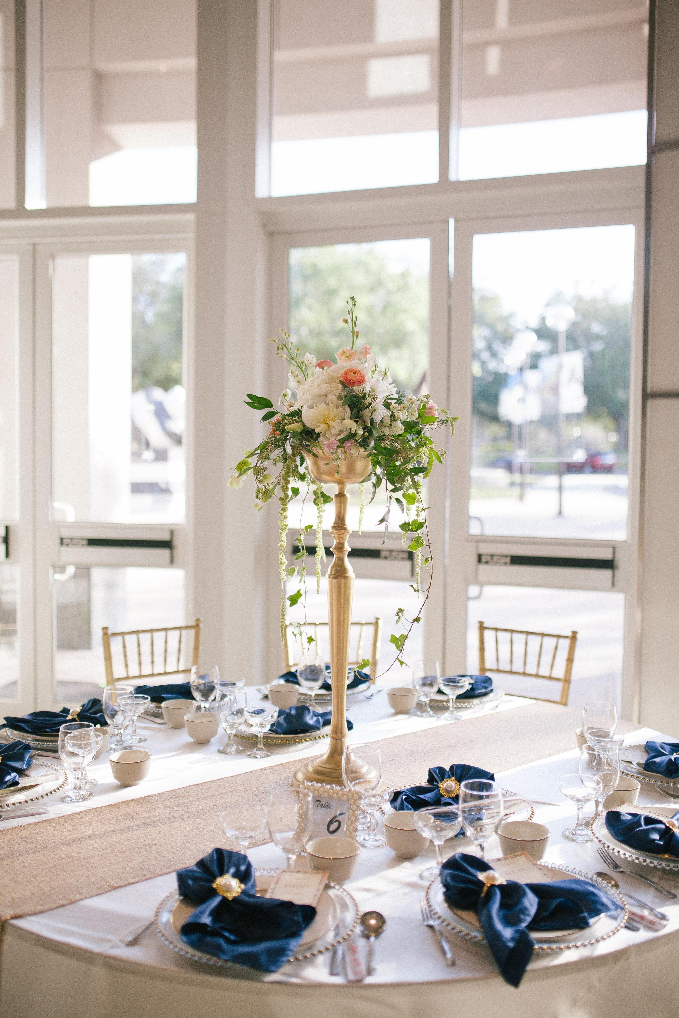 navy and gold modern wedding centerpieces