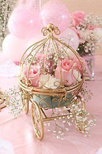Golden carriage with pretty pink flowers decor for Disney wedding