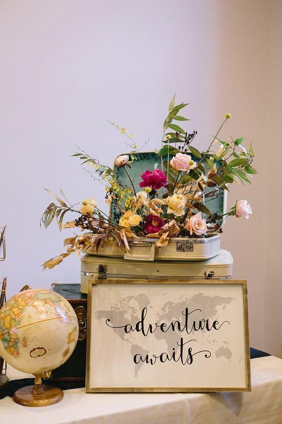 Vintage travel themed wedding with suitcases, globe, and map with floral details