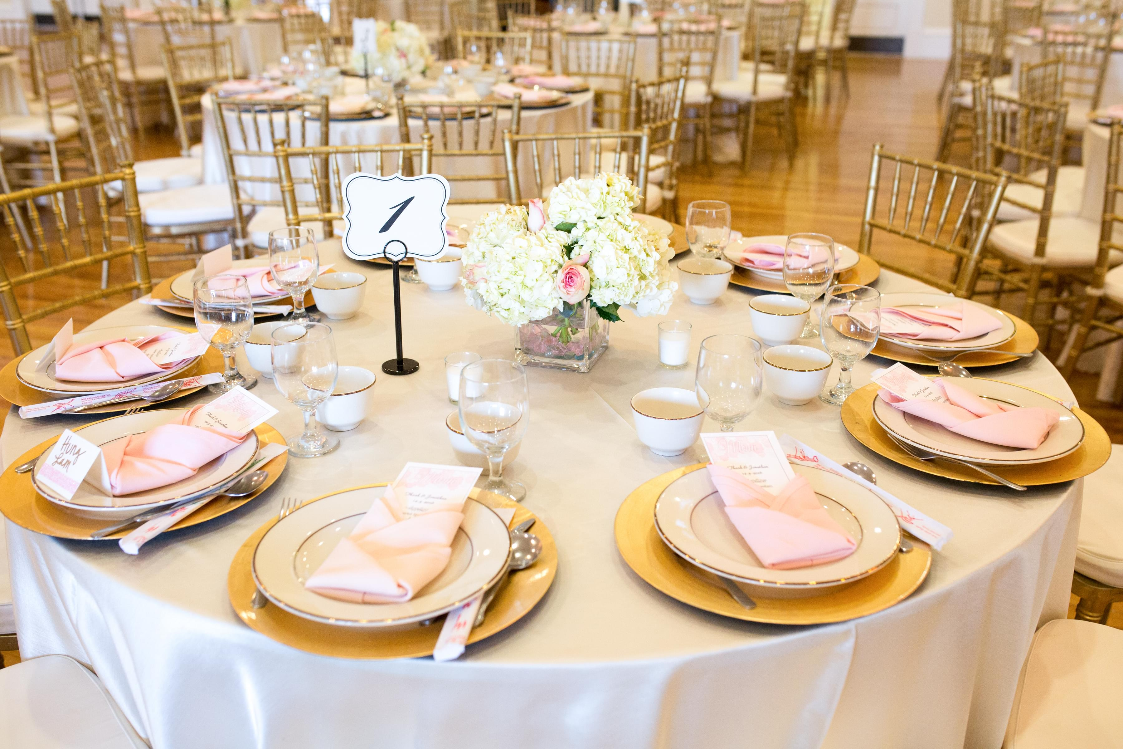 pink and gold flower centerpieces